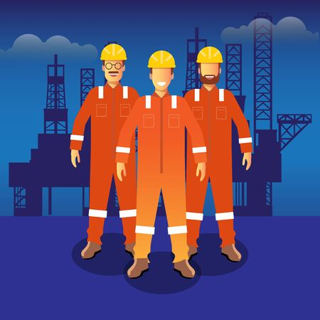 vector illustration for group of man standing in front on offshore its good for Offshore company oil and gas