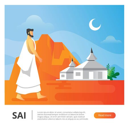 vector illustration of man who walk behind the dessert good for hajj islamic pilgrimage season Illustration