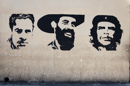 wall painting: Wall painting of cuban revolution heroes