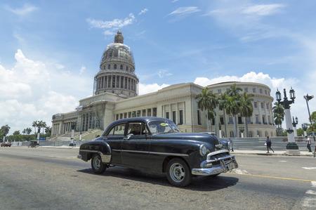 capitolio: HAVANA, CUBA - JUNE 22, 2015: Classic car in front of the Capitolio in Havana, Cuba Editorial