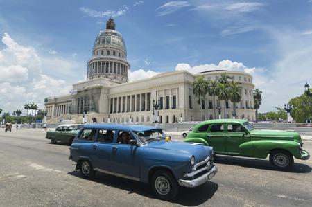 capitolio: HAVANA, CUBA - JUNE 22, 2015: American cars in front of the Capitolio in Havana, Cuba Editorial
