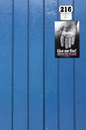 give me five: TRINIDAD, CUBA - JUNE 2, 2014: Obama give me five Editorial