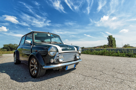 mini car: Classic green Mini Cooper
