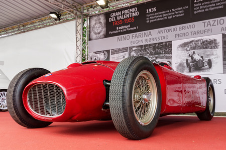 formula one racing: TURIN, ITALY - JUNE 13, 2015: TURIN, ITALY - JUNE 13, 2015: Lancia D50 at the Valentino Car exhibition. The D50 model was a Formula One racing car built by Lancia from 1954 to 1957