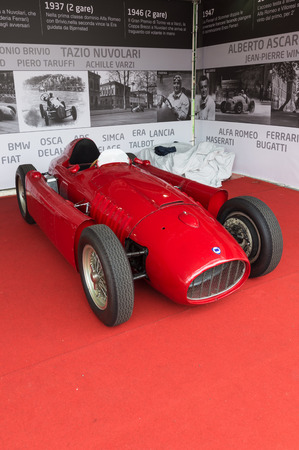 formula one racing: TURIN, ITALY - JUNE 13, 2015: Lancia D50 at the Valentino Car exhibition. The D50 model was a Formula One racing car built by Lancia from 1954 to 1957 Editorial