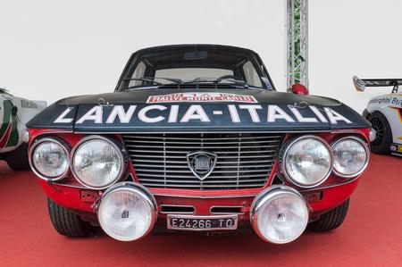 hf: TURIN, ITALY - JUNE 13, 2015: Lancia Fulvia Coup HF, a several times World Rally Champion
