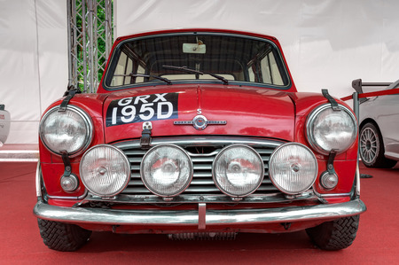 TURIN, ITALY - JUNE 13, 2015: Red old Mini Cooper, three times winner at the Monte Carlo rally