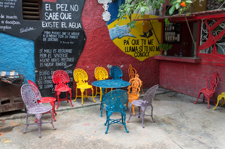 cuban culture: Colourful chairs at the Callejon de Hamel in Havana, Cuba