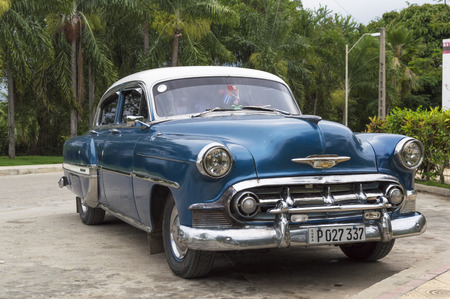 chevrolet: Blue Classic Chevrolet in Havana, Cuba