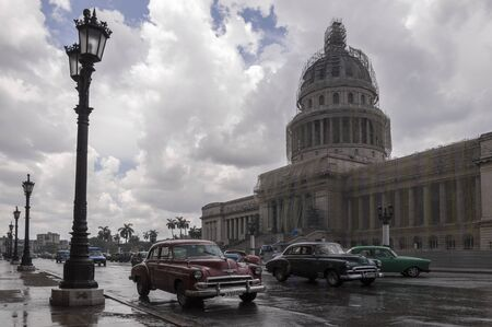 havana: Havana Capitolio on a rainy day