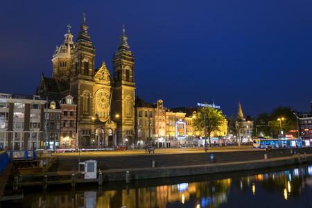 'saint nicholas': Saint Nicholas church at night in Amsterdam Editorial