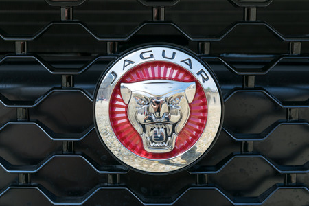 turin italy june 9 2016 detail of a jaguar logo on the grill
