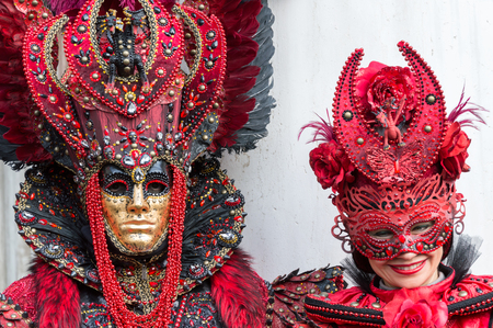 venice carnival: Red costumes at Venice carnival