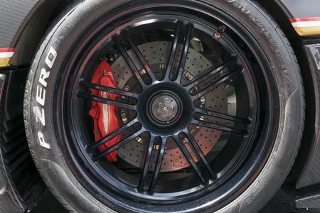 TURIN, ITALY - JUNE 13, 2015: Closeup of a Pirelli P Zero Zonda wheel