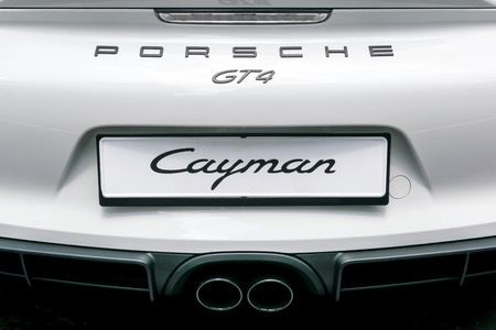 cayman: TURIN, ITALY - JUNE 13, 2015: Rear view of a Porsche Cayman GT4 model Editorial