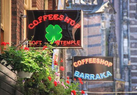 Amsterdam, The Netherlands - July 15, 2011   Coffee shop signs