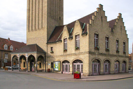 Belfry of Bergues in the department of  Le Nord  in France  Editorial