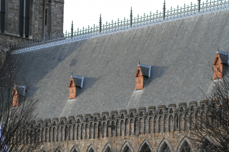 ypres: Close up on the roof of the Cloth Hall in Ypres, Belgium  Stock Photo