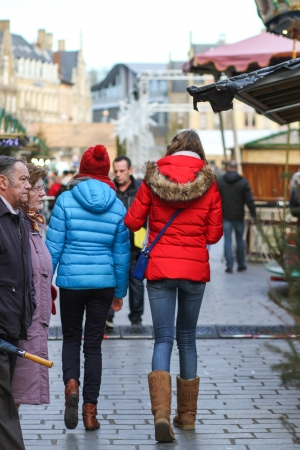 Ypres, Belgium - January 2, 2014 People are rambling at the Christmas market in Ypres, Belgium  Editorial
