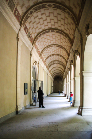 Lyon, France - May 20, 2012 A security guard is minding the entrance of the Fine Arts of Lyon, France  Editorial