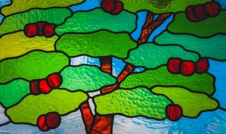 Cherry tree on stain glass  photo