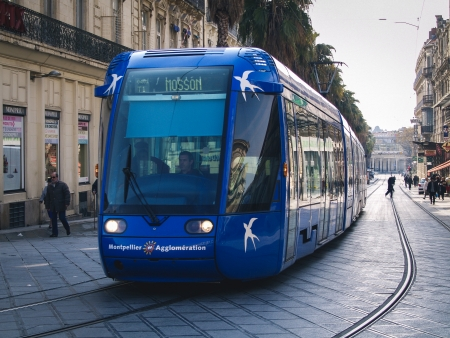 Montpellier, France - November 3, 2010 A man is driving a blue tramway between the train station and the main plaza  Place de la Comédie  in the heart of Montpellier in the south of France  Editorial