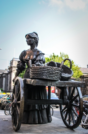 Dublin, Ireland - April 29, 2011 Statue of Molly Malone at the top of Grafton Street in Dublin, Ireland  The statue was unveiled by Ben Briscoe, Lord Mayor of Dublin and presented to the people of Dublin by Jurys Hotel Group in December 1988  Editorial
