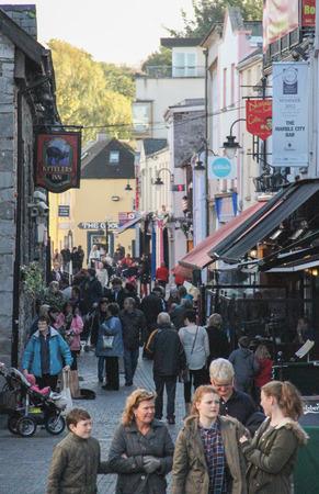 Kilkenny, Ireland - October 31, 2013 People are enjoying some shopping in Saint Kieran