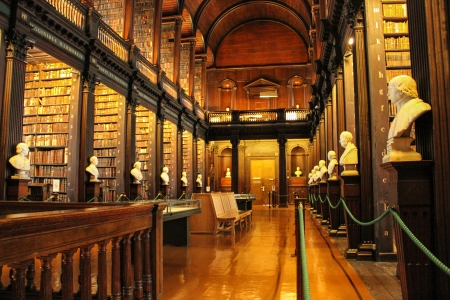 Main chamber of the Old Library, the Long Room  Trinity College in Dublin, Ireland  Editorial