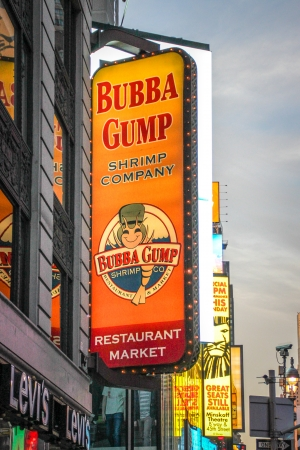 New York City, USA - August 8, 2012 The Bubba Gump Shrimp Company Restaurant and Market sign at Times Square This seafood restaurant is part of a chain inspired by the 1994 film Forrest Gump  As of September 2010, thirty-two Bubba Gump restaurants operate