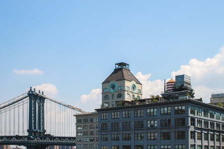 View on a building beside the Manhattan Bridge from Brooklyn  Editorial
