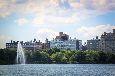 Jet of water on the Jacqueline Kennedy Onassis Reservoir in Central Park, New York