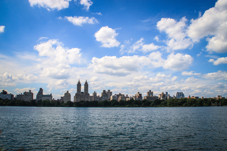 Skyline over Jacqueline Kennedy Onassis Reservoir in Central Park, New York  Stock Photo