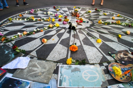 The Imagine mosaic in Central Park, New York  Editorial