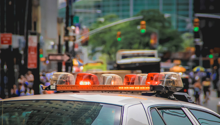 Focus on the sirens of a New York Police car