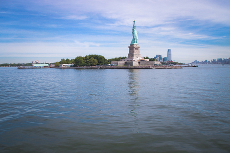 View of Statue of Liberty and Lower Manhattan, New York