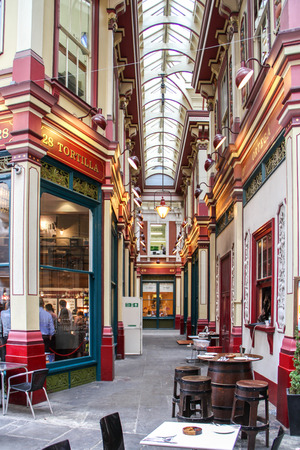 London, United Kingdom - July 27, 2013 People are walking through the Leadenhall Market in London  This market was one of the movie set location in Harry Potter and the Philosopher