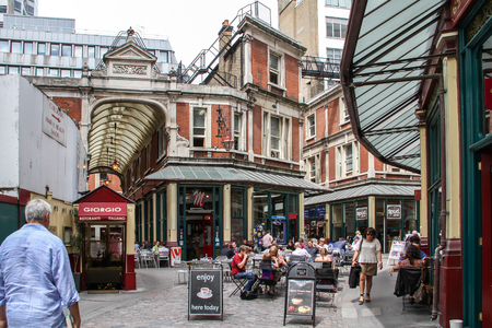 London, United Kingdom - July 26, 2013 People are walking through the Leadenhall Market in London  This market was one of the movie set location in Harry Potter and the Philosopher Editorial