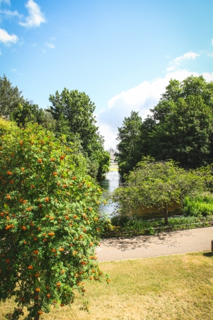View on the The Household Cavalry Museum over the Saint James park pond in London  Stock Photo