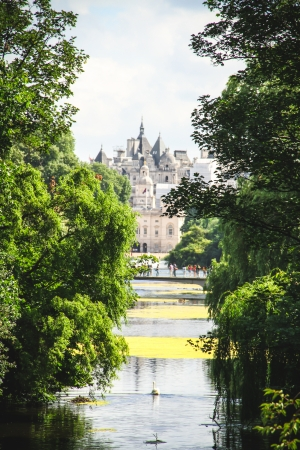 View on the The Household Cavalry Museum over the Saint James park pond in London  Editorial