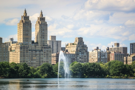 Water jet of the Jacqueline Kennedy Onassis Reservoir in Central Park, New York