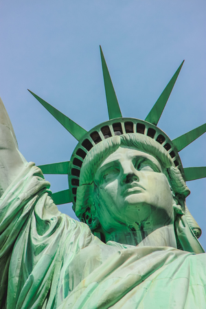 Close up on the Statue of Liberty face  Stock Photo