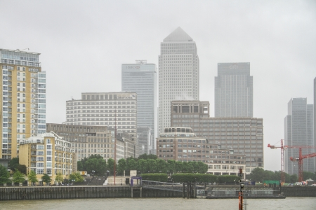View on the Canary Wharf in London, United Kingdom  Canary Wharf is a major business district located in Tower Hamlets, London, United Kingdom  It is one of London