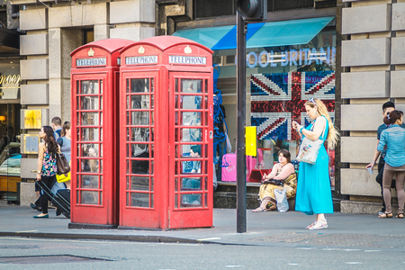London, United Kingdom - July 23, 2013  Double Telephone Booth