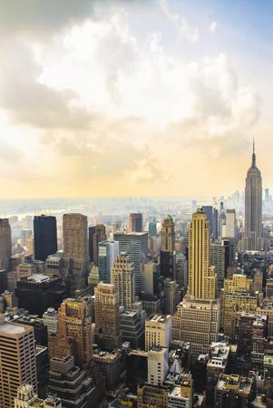 Manhattan aerial skyline, New York  Stock Photo