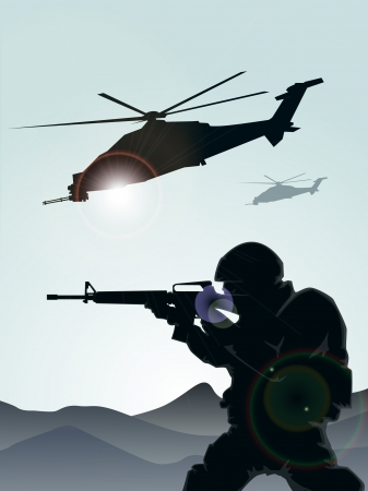 Soldier with helicopters  Stock Vector - 18929785