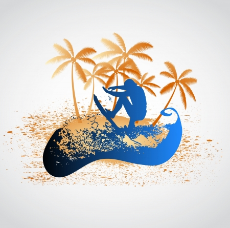 surfer wave grunge Vector