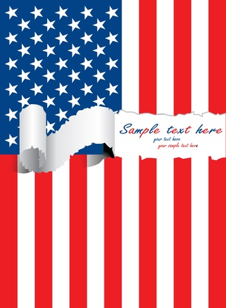 ripped usa flag  Illustration