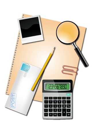 finance report: Calculator and office supplies