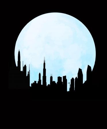 moon  metropolis: cityscape skyline at full moon